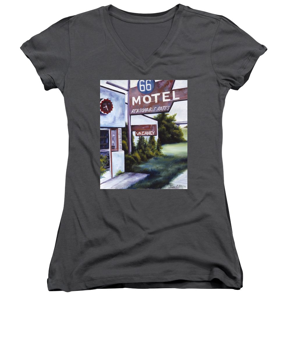 Motel; Route 66; Desert; Abandoned; Delapidated; Lost; Highway; Route 66; Road; Vacancy; Run-down; Building; Old Signage; Nastalgia; Vintage; James Christopher Hill; Jameshillgallery.com; Foliage; Sky; Realism; Oils Women's V-Neck T-Shirt featuring the painting A Road Less Traveled by James Christopher Hill