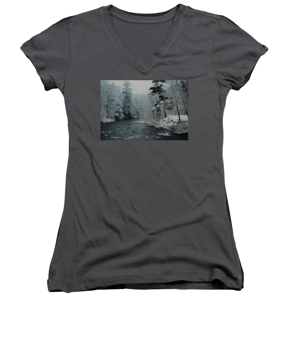 B&w Women's V-Neck (Athletic Fit) featuring the photograph A Winter Waterland by Rob Hans