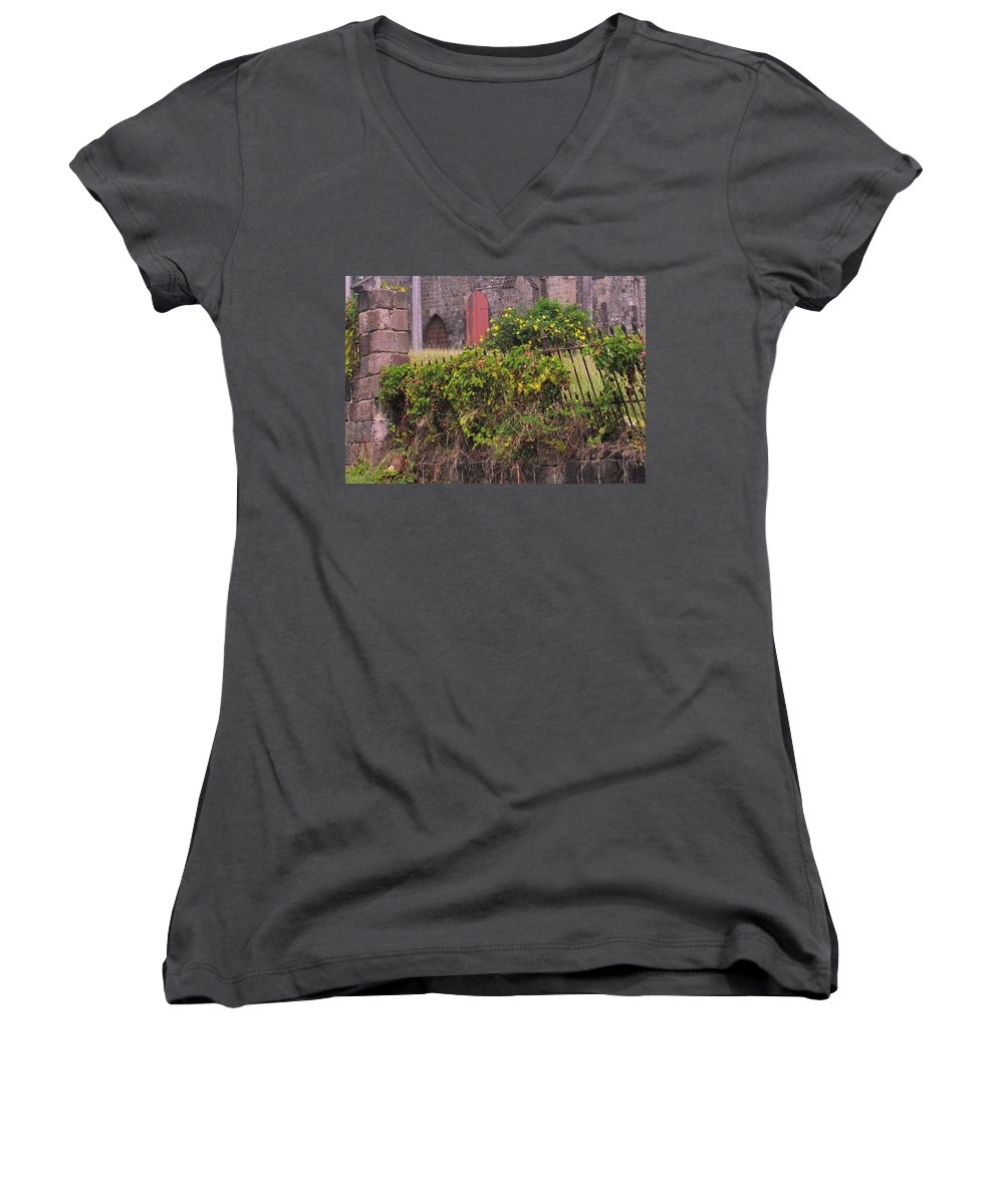 Anglican Women's V-Neck (Athletic Fit) featuring the photograph Abandoned Churchyard by Ian MacDonald