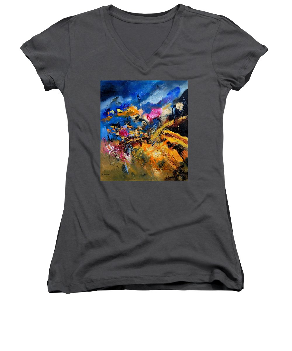 Abstract Women's V-Neck (Athletic Fit) featuring the painting Abstract 7808082 by Pol Ledent
