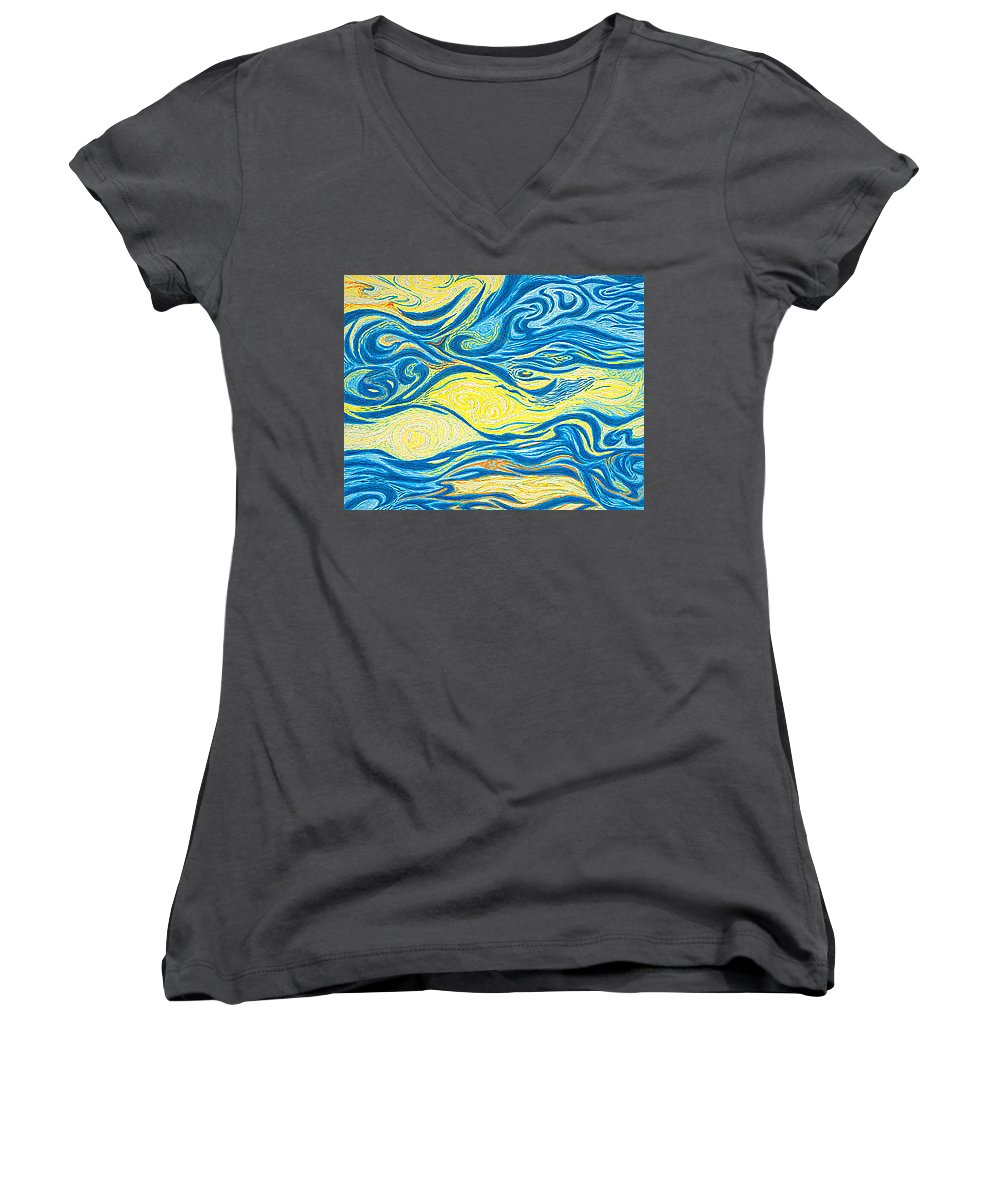 Art Women's V-Neck (Athletic Fit) featuring the drawing Abstract Art Good Morning Contemporary Modern Artwork Giclee Fine Art Prints Life Cycle Swirls Water by Baslee Troutman