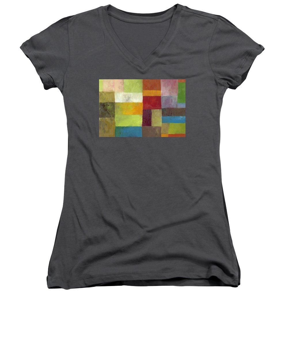 Abstract Women's V-Neck (Athletic Fit) featuring the painting Abstract Color Study Lv by Michelle Calkins