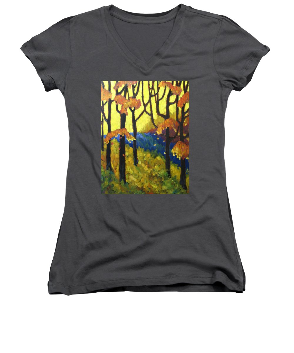 Art Women's V-Neck (Athletic Fit) featuring the painting Abstract Forest by Richard T Pranke
