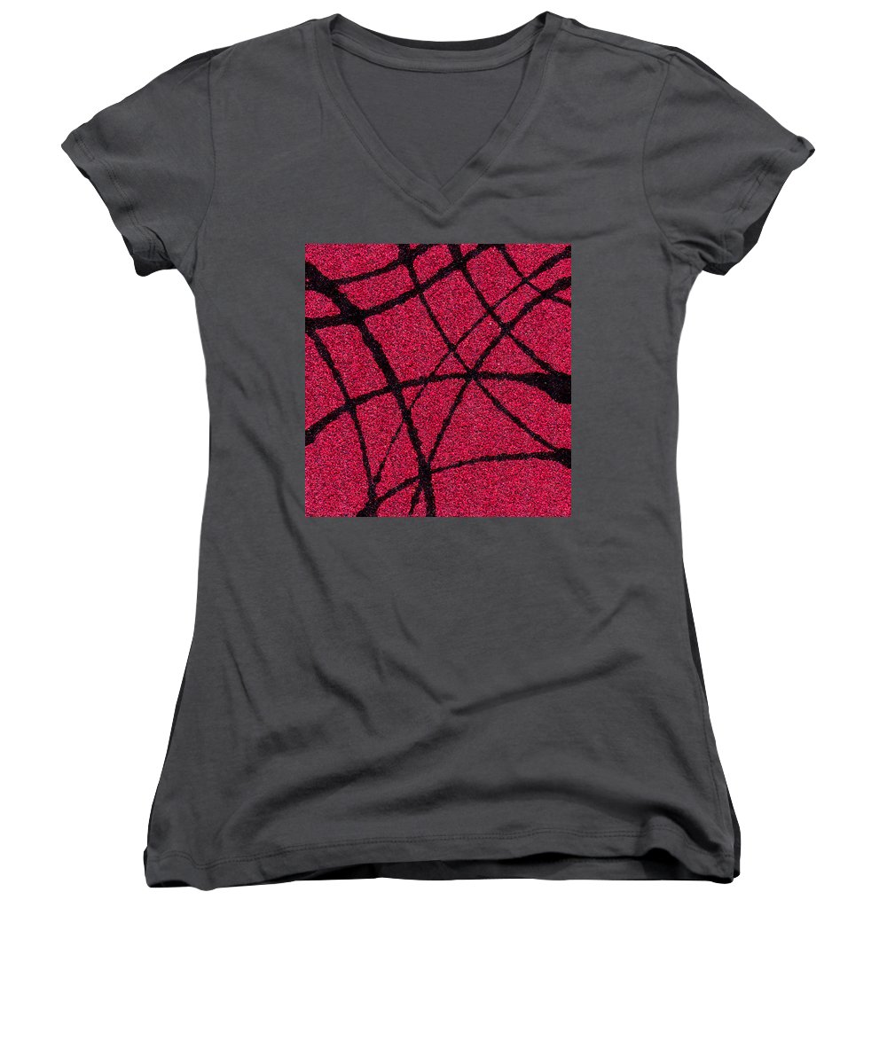 Abstract Women's V-Neck T-Shirt featuring the painting Abstract In Red And Black by Wayne Potrafka