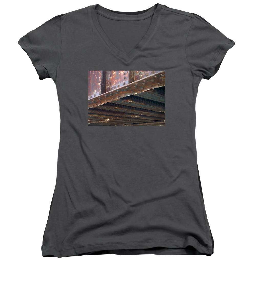 Urban Women's V-Neck (Athletic Fit) featuring the photograph Abstract Rust 4 by Anita Burgermeister