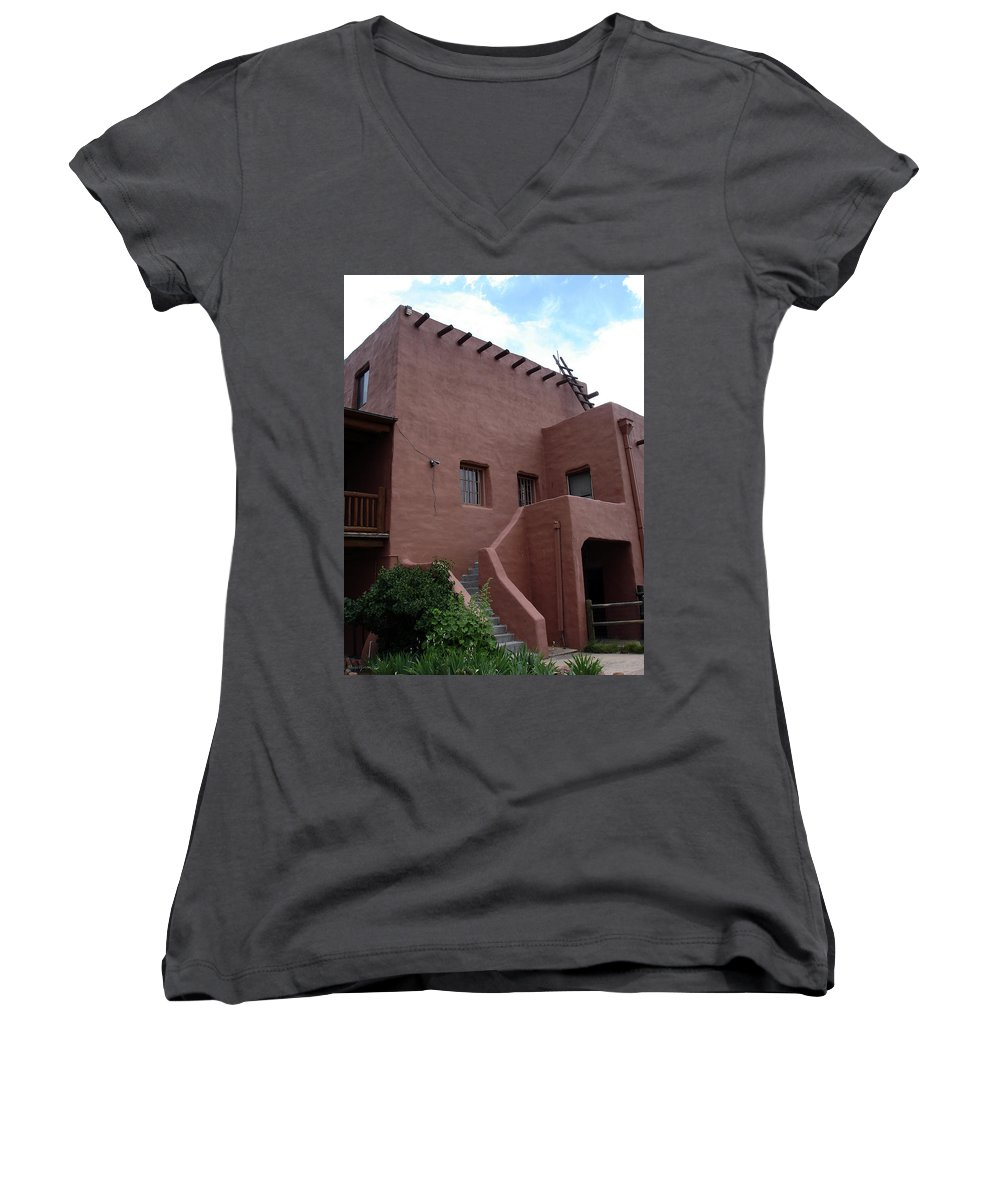 Santa Fe Women's V-Neck T-Shirt featuring the photograph Adobe House At Red Rocks Colorado by Merja Waters
