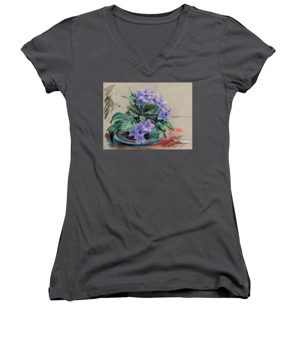 African Violets Women's V-Neck T-Shirt featuring the drawing African Violet by Donald Maier