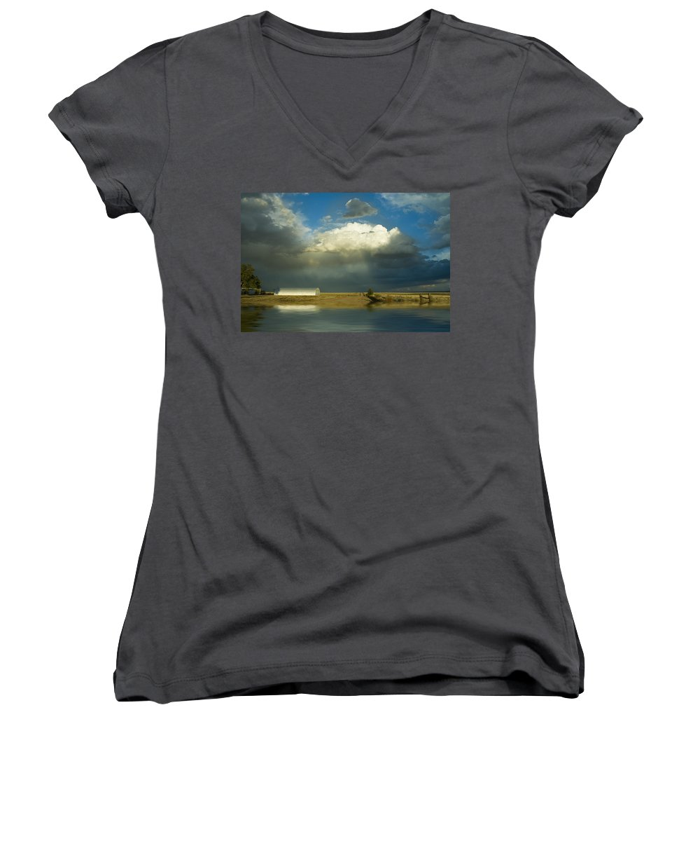 Storm Women's V-Neck T-Shirt featuring the photograph After The Storm by Jerry McElroy