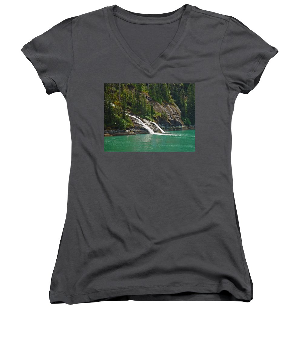 Waterfall Women's V-Neck (Athletic Fit) featuring the photograph Alaska Tracy Arm by Heather Coen