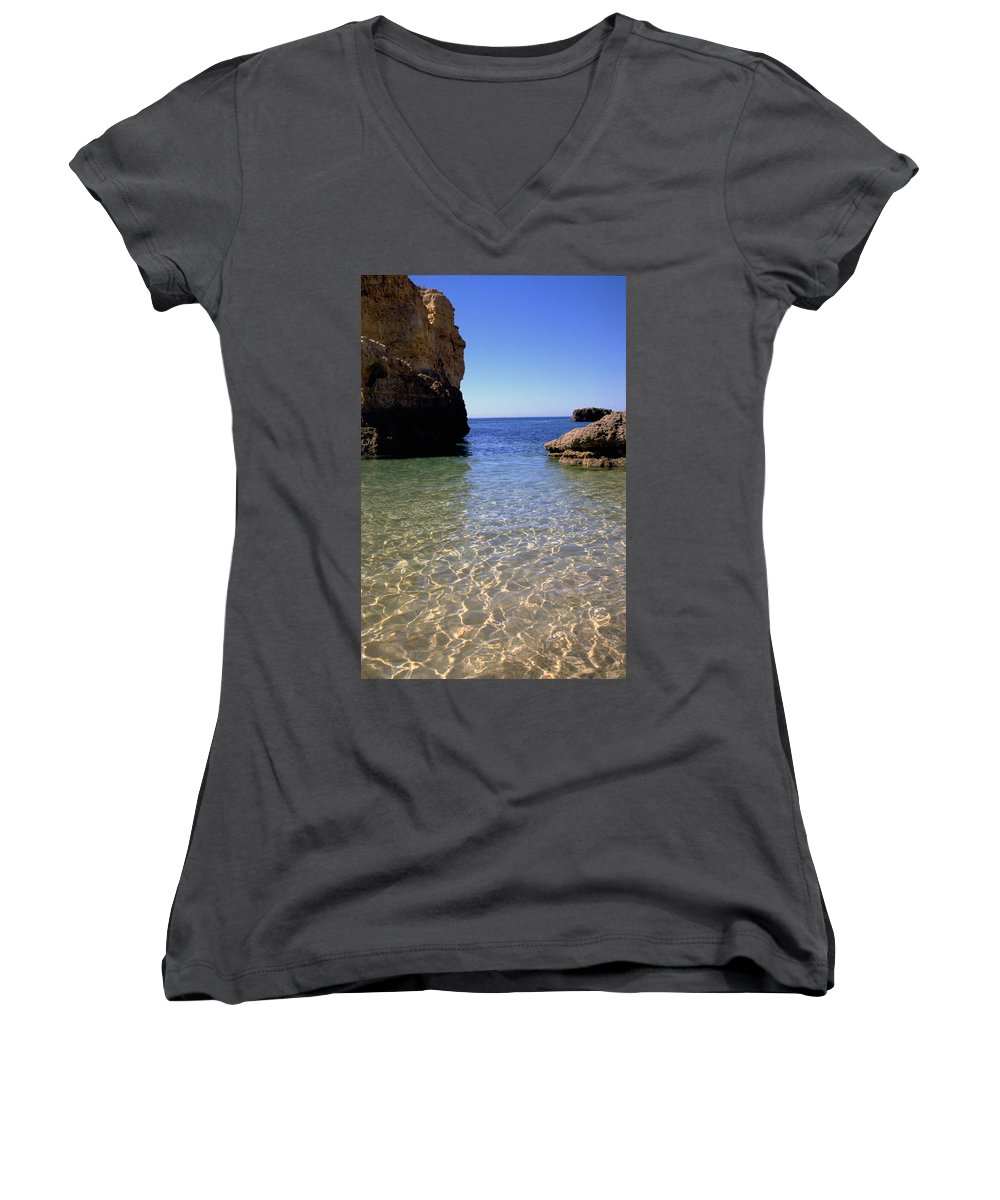 Algarve Women's V-Neck T-Shirt featuring the photograph Algarve I by Flavia Westerwelle