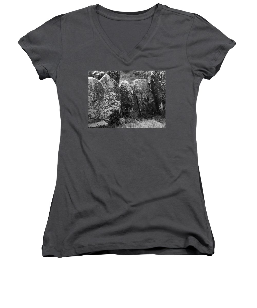 Ireland Women's V-Neck (Athletic Fit) featuring the photograph All In A Row At Fuerty Cemetery Roscommon Ireland by Teresa Mucha