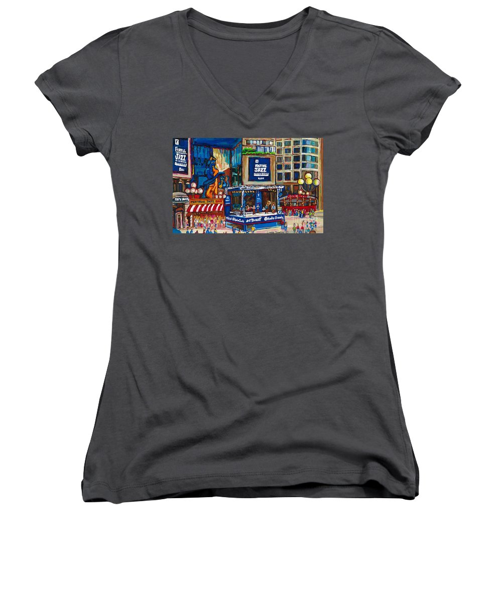 Montreal Women's V-Neck (Athletic Fit) featuring the painting All That Jazz by Carole Spandau