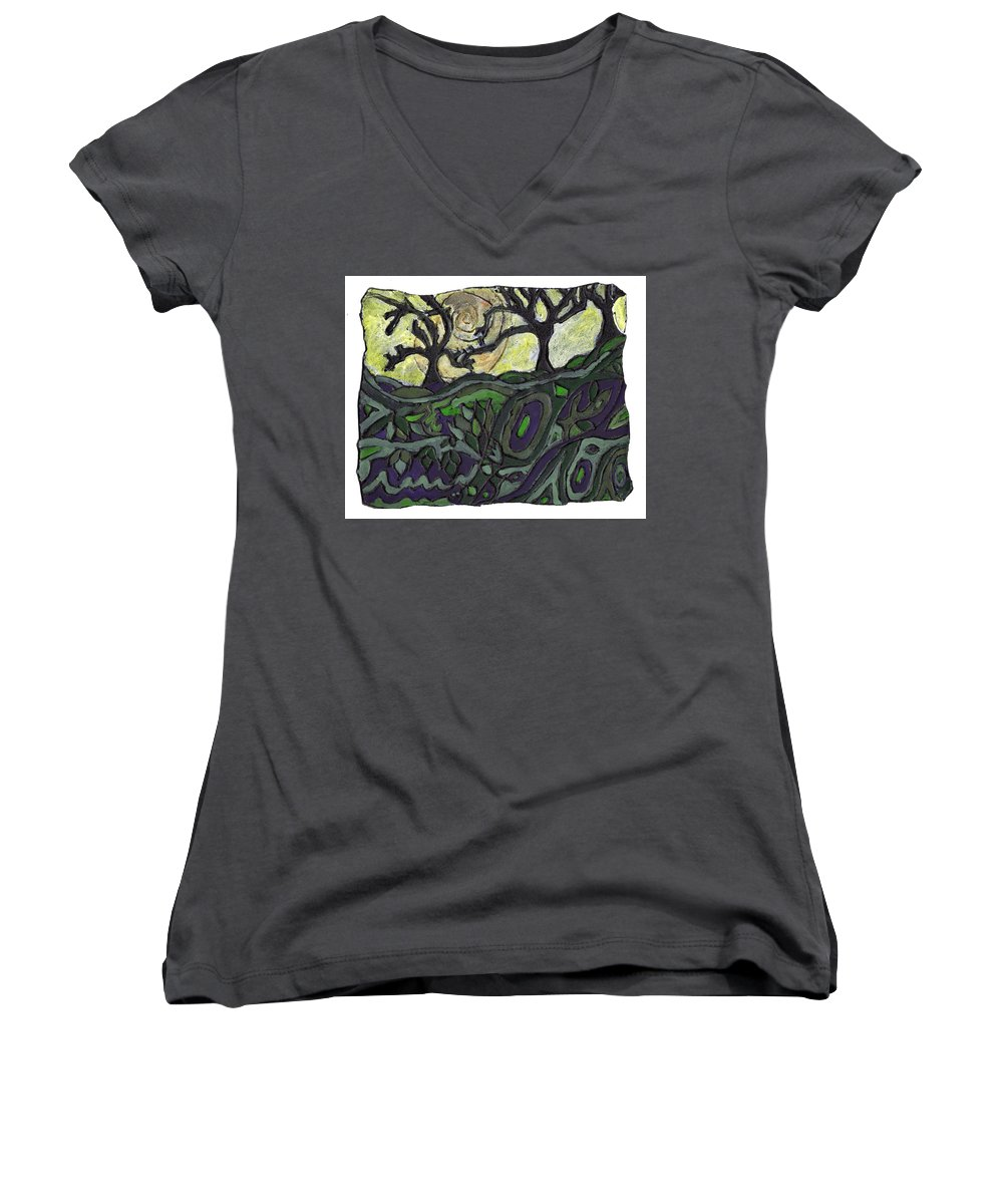 Woods Women's V-Neck (Athletic Fit) featuring the painting Alone In The Woods by Wayne Potrafka