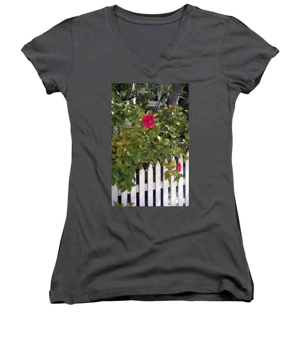 Azelea Women's V-Neck (Athletic Fit) featuring the photograph Along The Picket Fence by Richard Rizzo