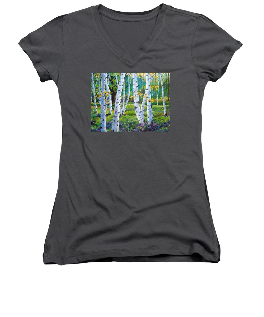 Birche; Birches; Tree; Trees; Nature; Landscape; Landscapes Scenic; Richard T. Pranke; Canadian Artist Painter Women's V-Neck (Athletic Fit) featuring the painting Alpine Flowers And Birches by Richard T Pranke