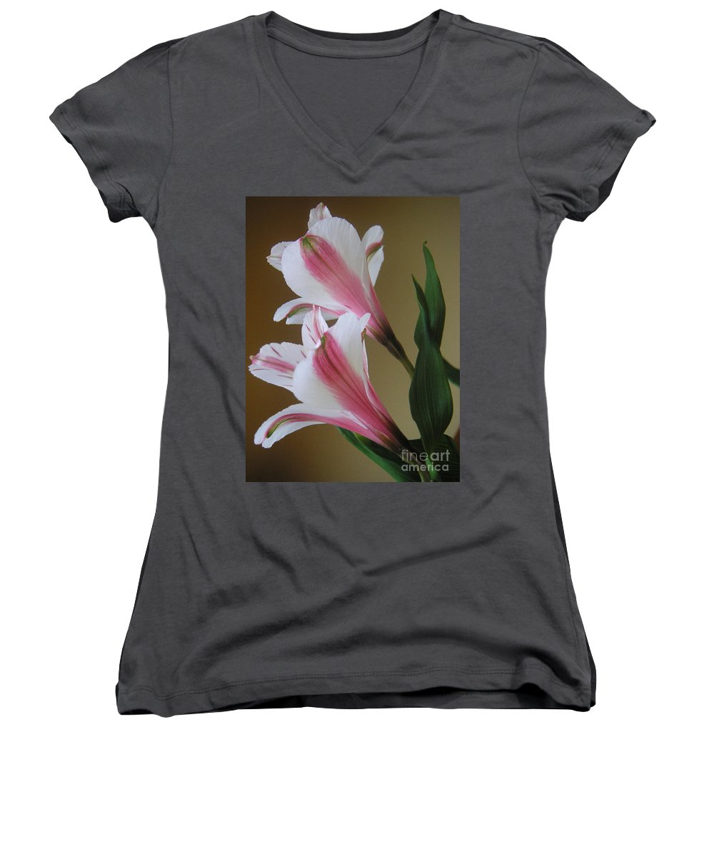 Nature Women's V-Neck T-Shirt featuring the photograph Alstroemerias - Doubled by Lucyna A M Green