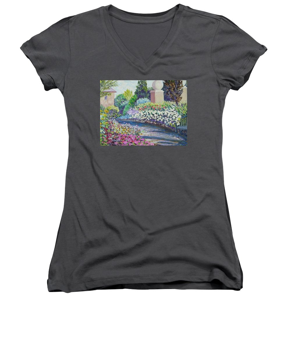 Flowers Women's V-Neck (Athletic Fit) featuring the painting Amelia Park Pathway by Richard Nowak