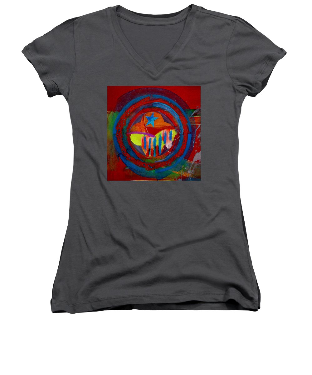 Button Women's V-Neck T-Shirt featuring the painting American Pastoral by Charles Stuart
