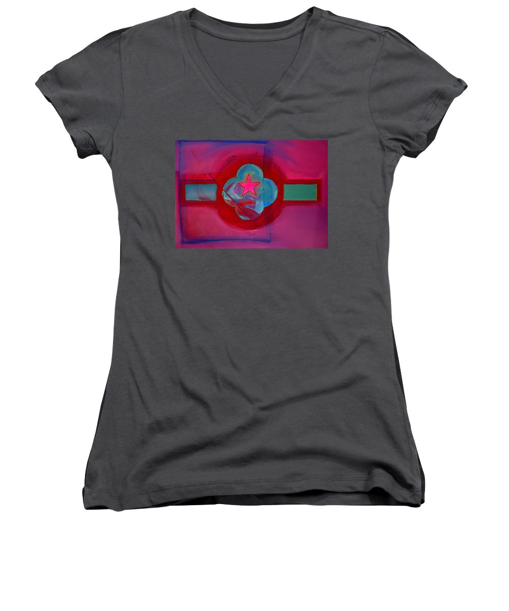 Star Women's V-Neck T-Shirt featuring the painting American Spiritual Decal by Charles Stuart