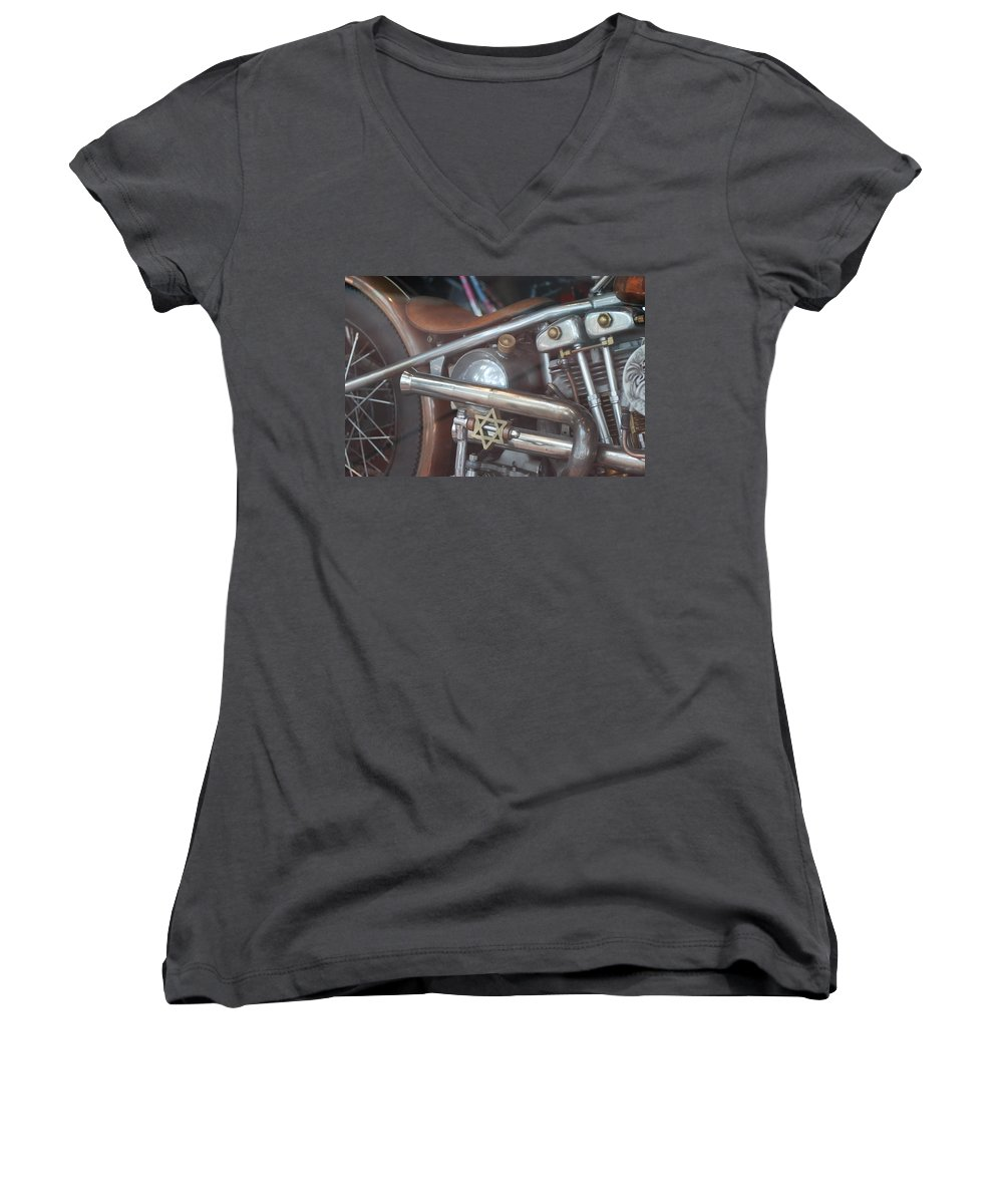Motorcycle Women's V-Neck T-Shirt featuring the photograph Ami's Bike by Rob Hans