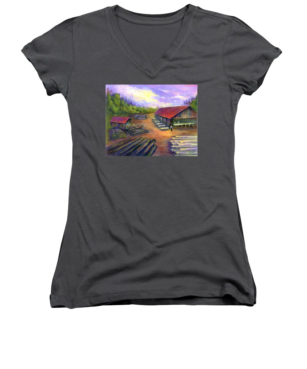 Amish Women's V-Neck T-Shirt featuring the painting Amish Lumbermill by Gail Kirtz