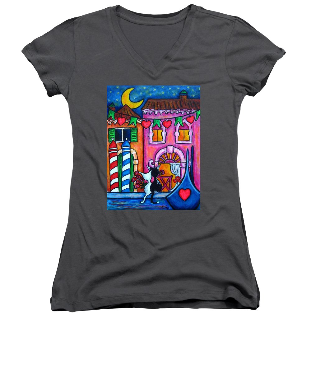 Cats Women's V-Neck T-Shirt featuring the painting Amore In Venice by Lisa Lorenz
