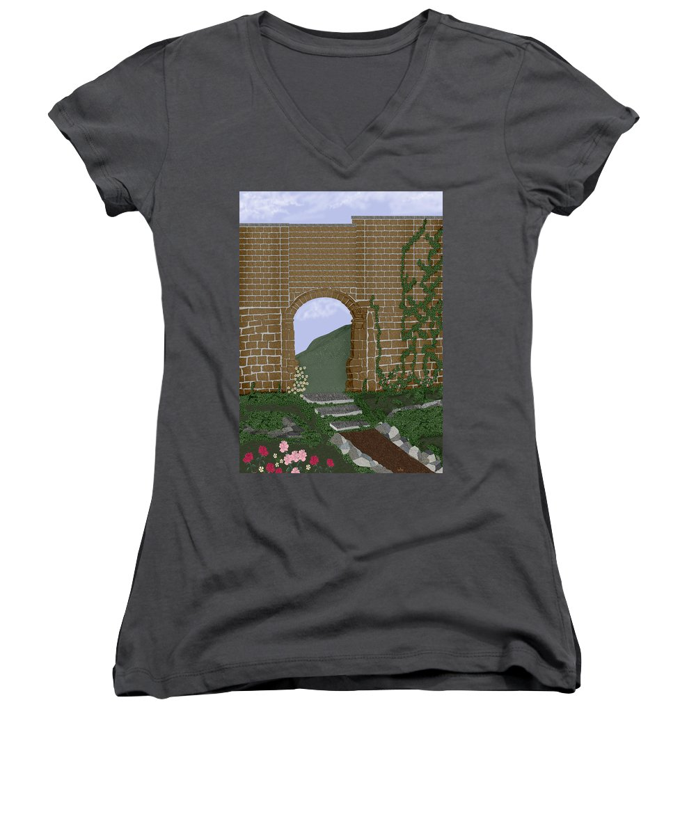 Irish Ruins Women's V-Neck T-Shirt featuring the painting Ancient Walls by Anne Norskog