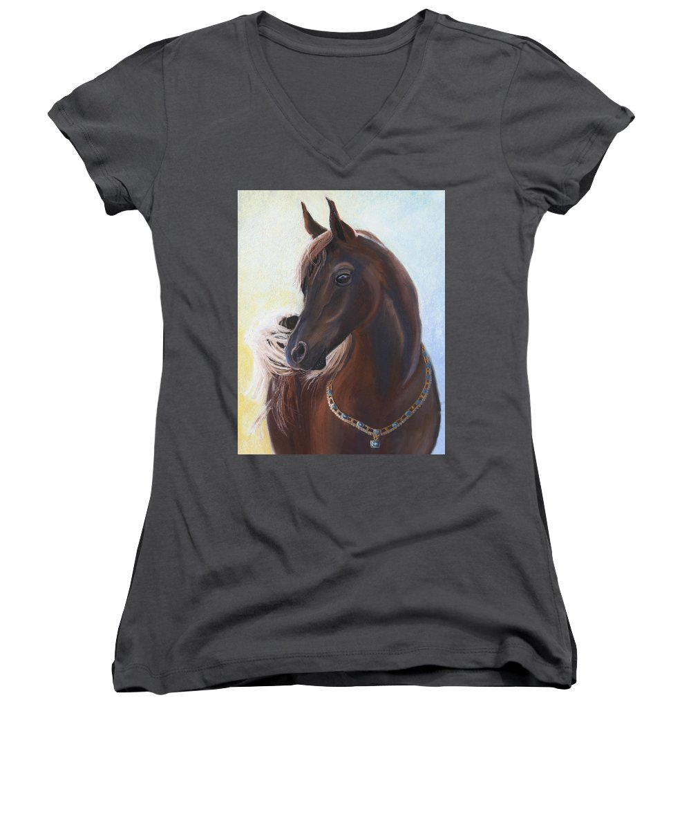 Horse Women's V-Neck T-Shirt featuring the painting Arabian Prince by Heather Coen
