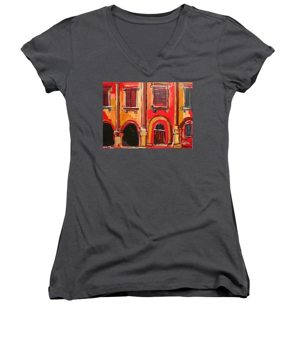 Tuscany Women's V-Neck T-Shirt featuring the painting Arco Di Firenze by Kurt Hausmann