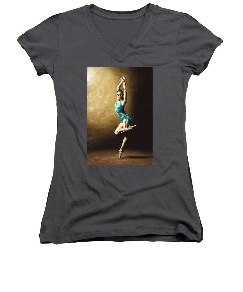 Dance Women's V-Neck (Athletic Fit) featuring the painting Ardent Dancer by Richard Young
