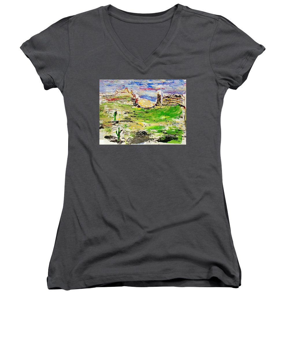 Cactus Women's V-Neck (Athletic Fit) featuring the painting Arizona Skies by J R Seymour