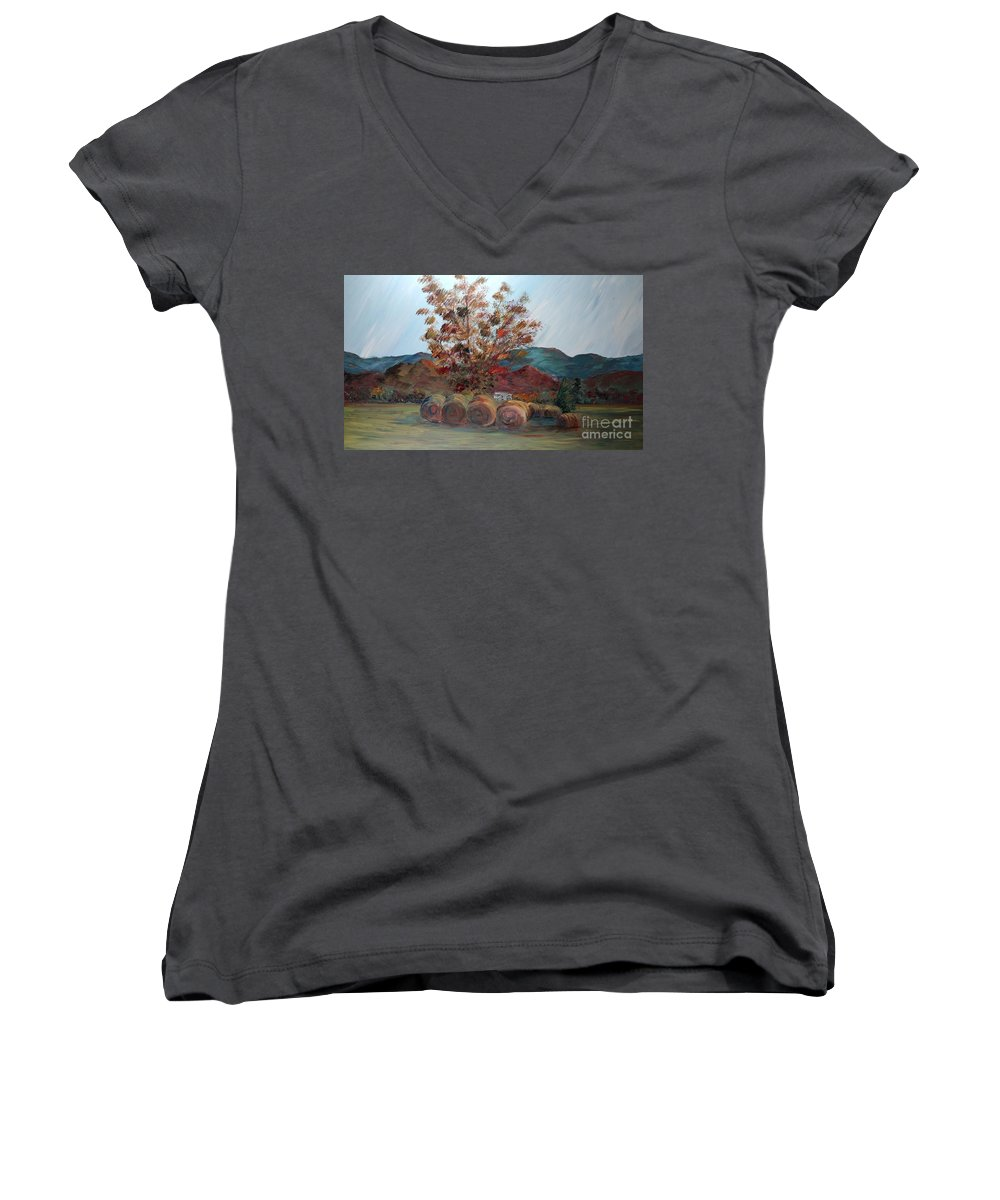 Autumn Women's V-Neck (Athletic Fit) featuring the painting Arkansas Autumn by Nadine Rippelmeyer