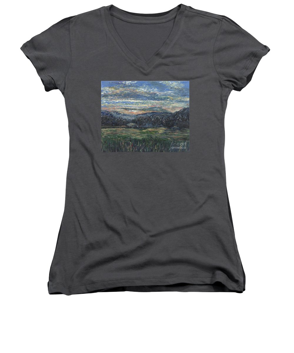 Impressionism Women's V-Neck T-Shirt featuring the painting Arkansas Sunrise by Nadine Rippelmeyer