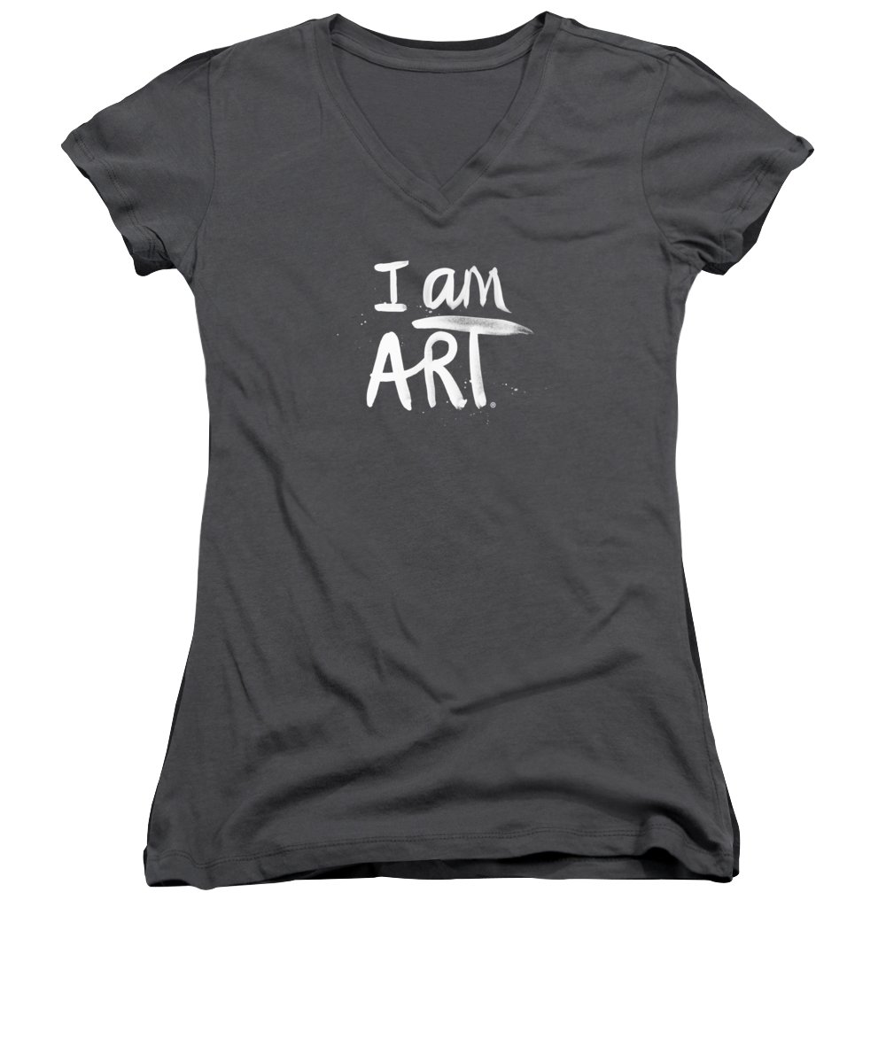 Black And White Art Women's V-Neck T-Shirts