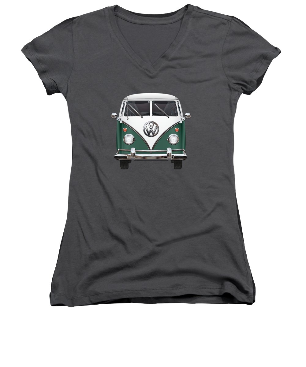 'volkswagen Type 2' Collection By Serge Averbukh Women's V-Neck featuring the photograph Volkswagen Type 2 - Green And White Volkswagen T 1 Samba Bus Over Red Canvas by Serge Averbukh