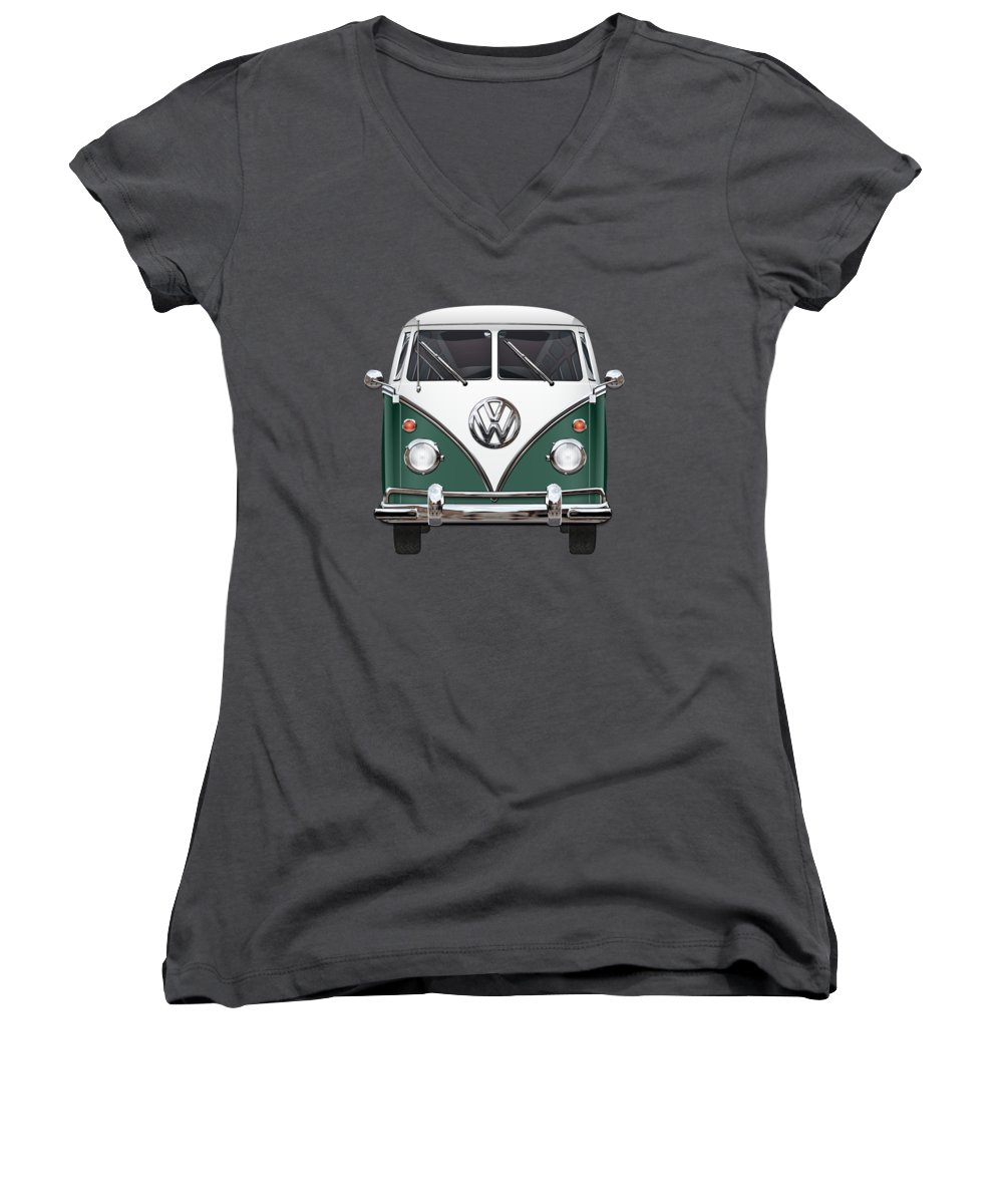 'volkswagen Type 2' Collection By Serge Averbukh Women's V-Neck T-Shirt featuring the photograph Volkswagen Type 2 - Green And White Volkswagen T 1 Samba Bus Over Red Canvas by Serge Averbukh