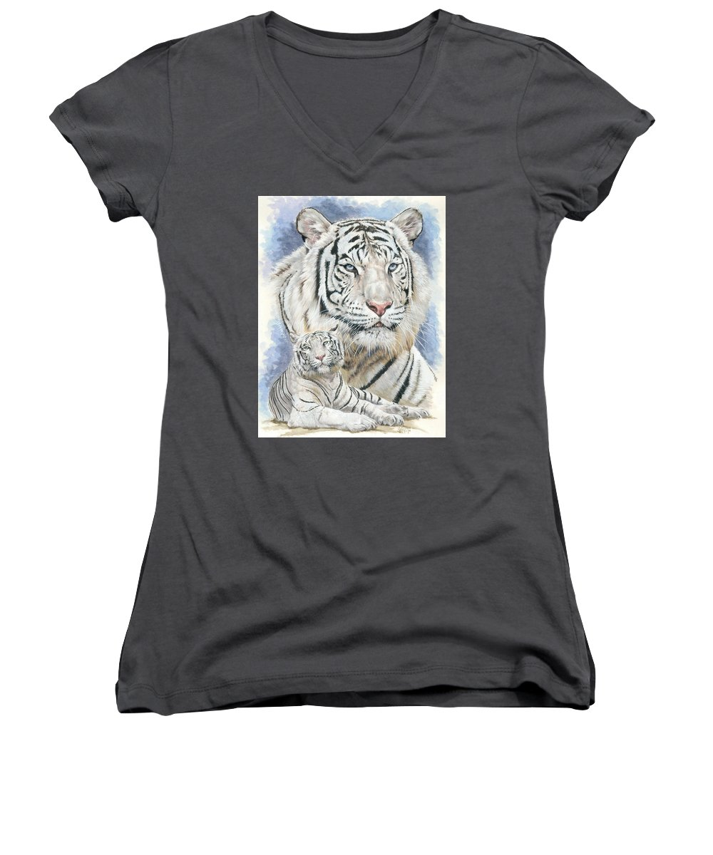 Big Cat Women's V-Neck (Athletic Fit) featuring the mixed media Dignity by Barbara Keith