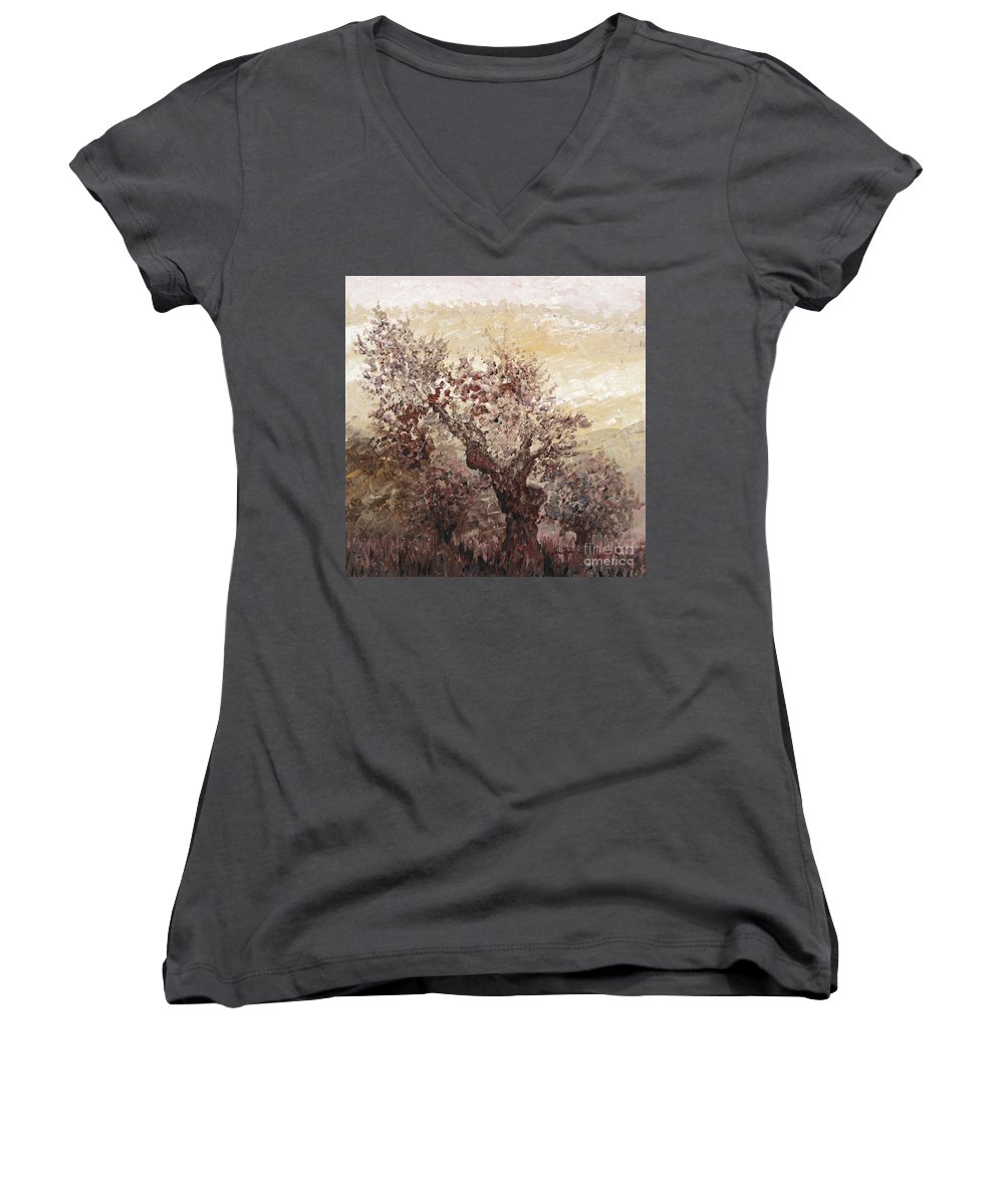 Landscape Women's V-Neck (Athletic Fit) featuring the painting Asian Mist by Nadine Rippelmeyer