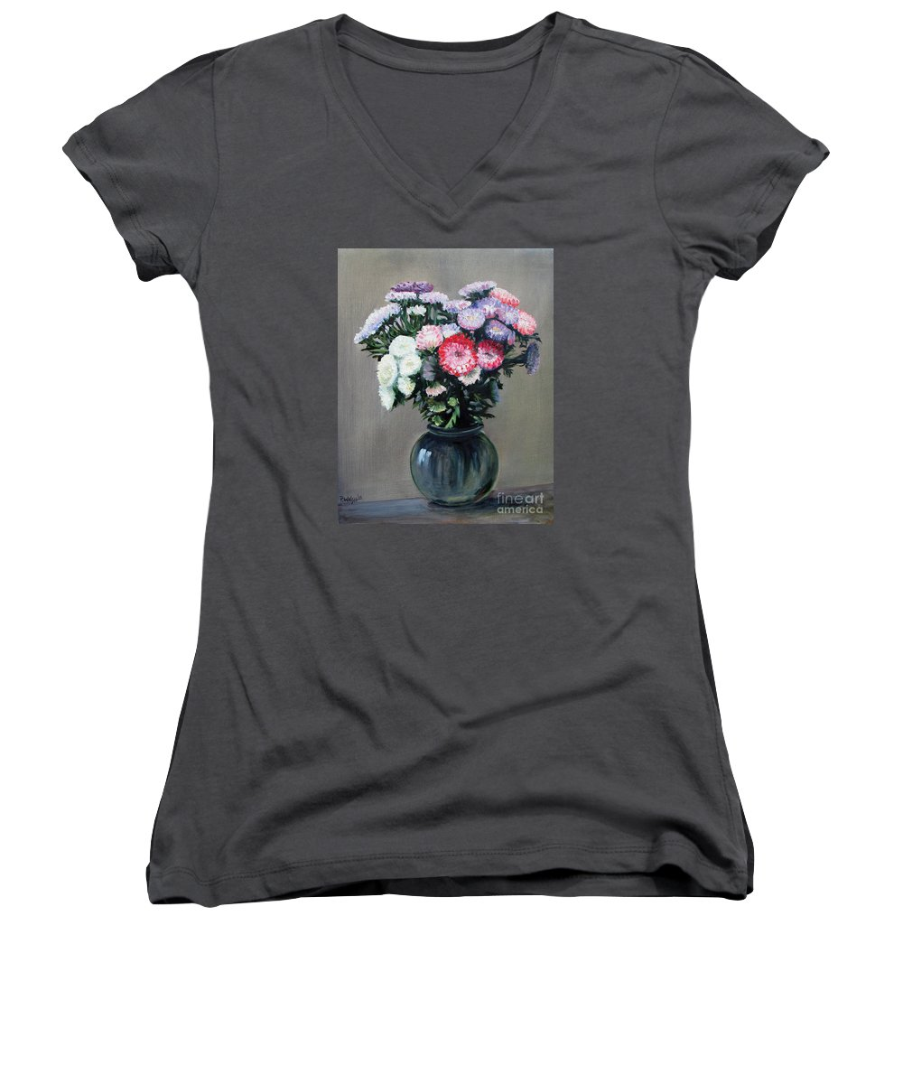 Flowers Women's V-Neck (Athletic Fit) featuring the painting Asters by Paul Walsh