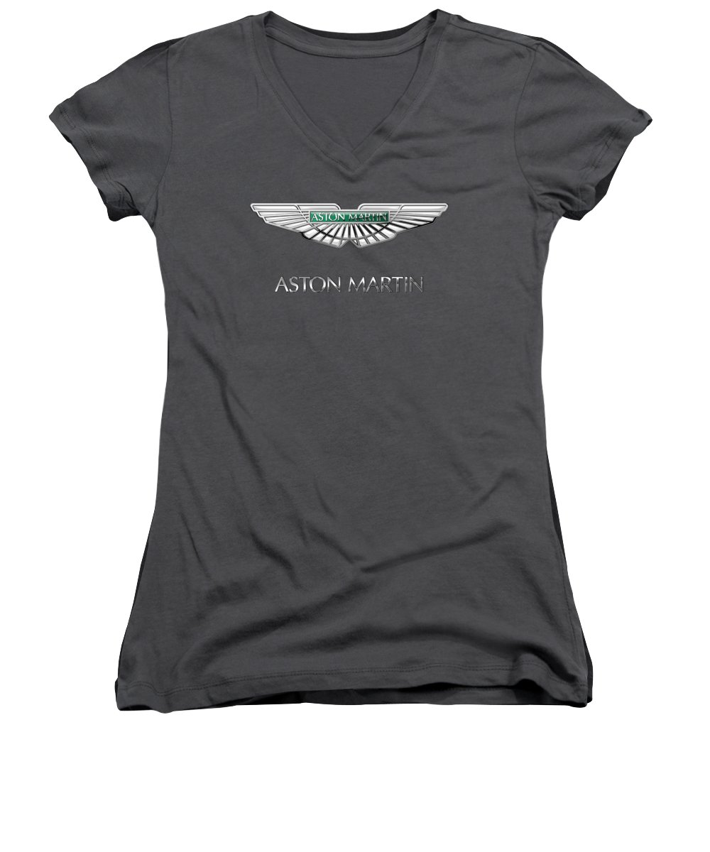 Wheels Of Fortune� Collection By Serge Averbukh Women's V-Neck featuring the photograph Aston Martin - 3 D Badge On Red by Serge Averbukh