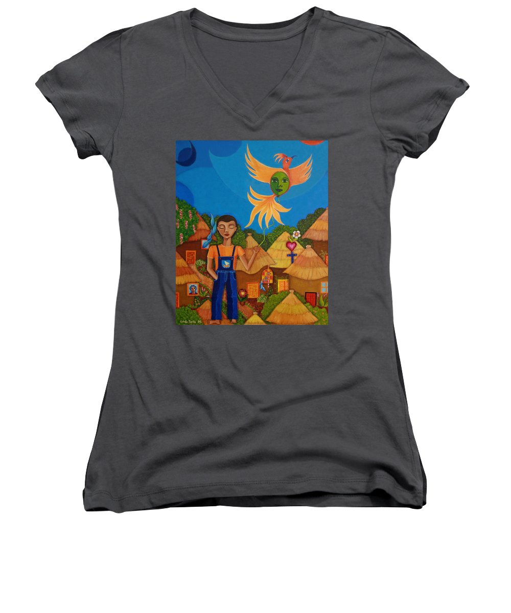 Autism Women's V-Neck T-Shirt featuring the painting Autism - A Flight To... by Madalena Lobao-Tello