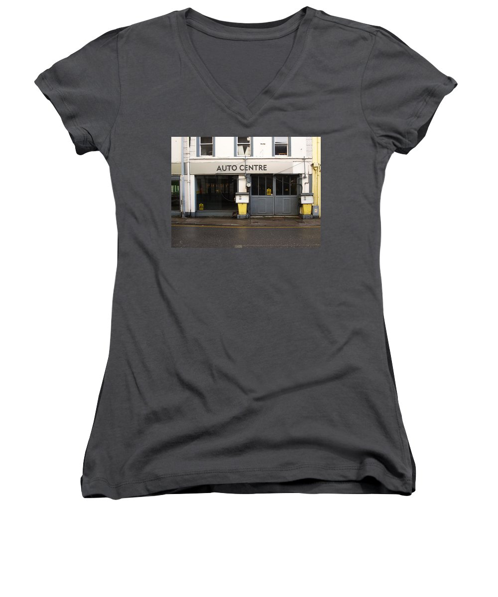 Auto Women's V-Neck T-Shirt featuring the photograph Auto Centre by Tim Nyberg