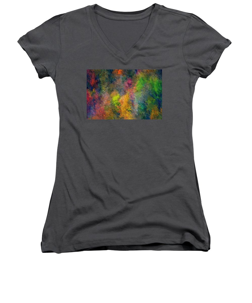 Landscape Women's V-Neck (Athletic Fit) featuring the digital art Autum Hillside by David Lane