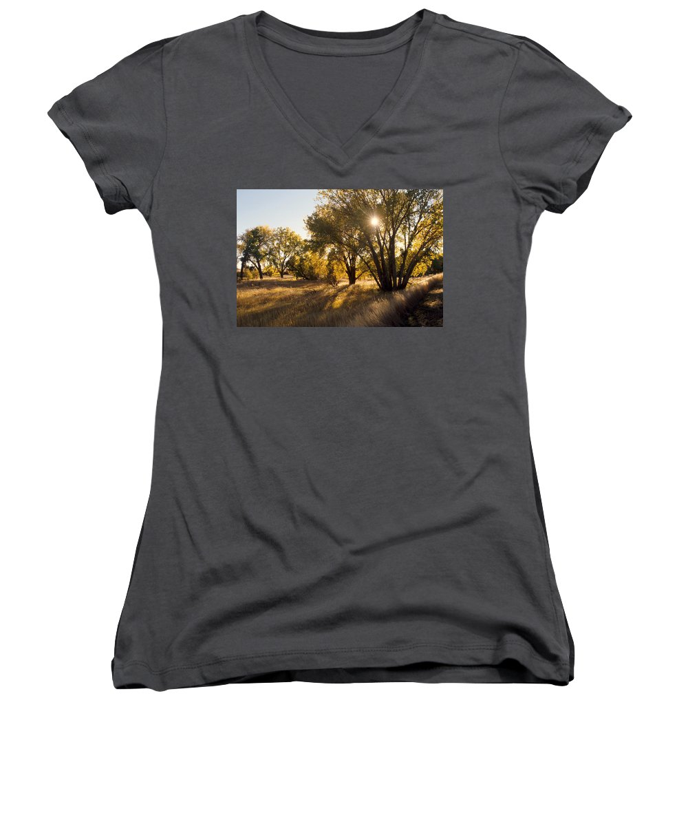 Fall Women's V-Neck T-Shirt featuring the photograph Autum Sunburst by Jerry McElroy