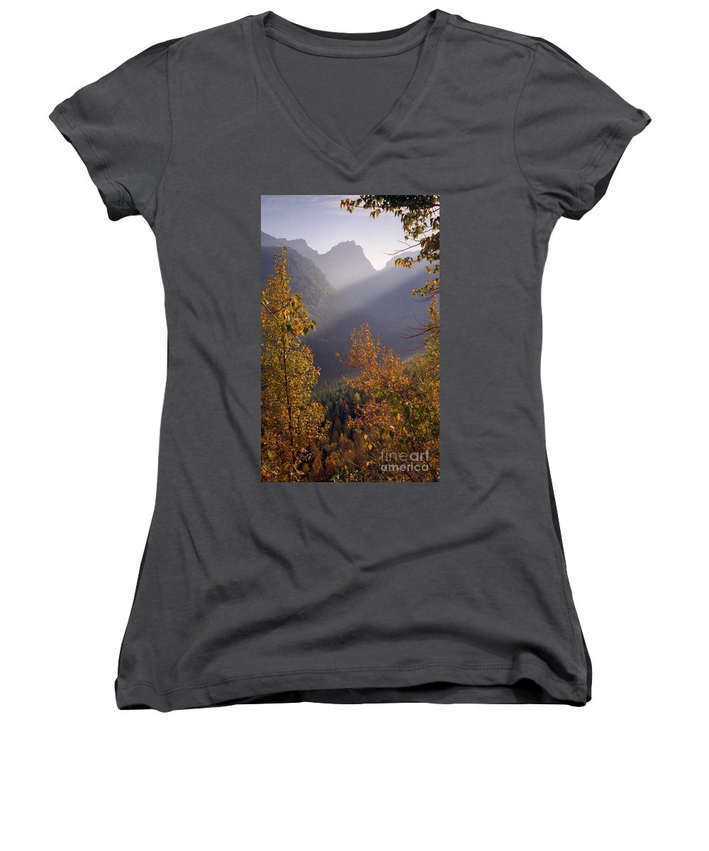 Mountains Women's V-Neck (Athletic Fit) featuring the photograph Autumn At Logan Pass by Richard Rizzo