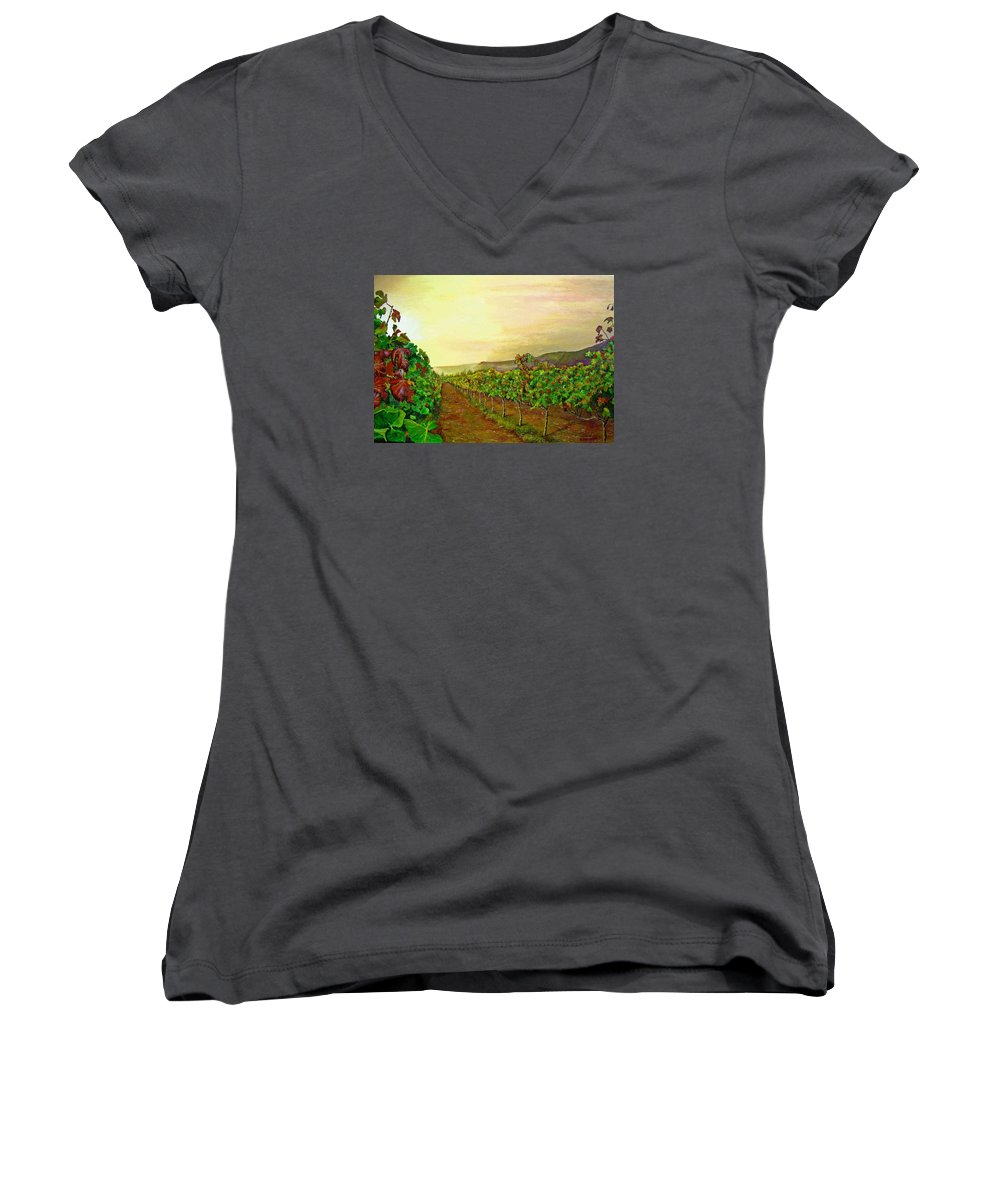 Vineyard Women's V-Neck T-Shirt featuring the painting Autumn At Steenberg by Michael Durst