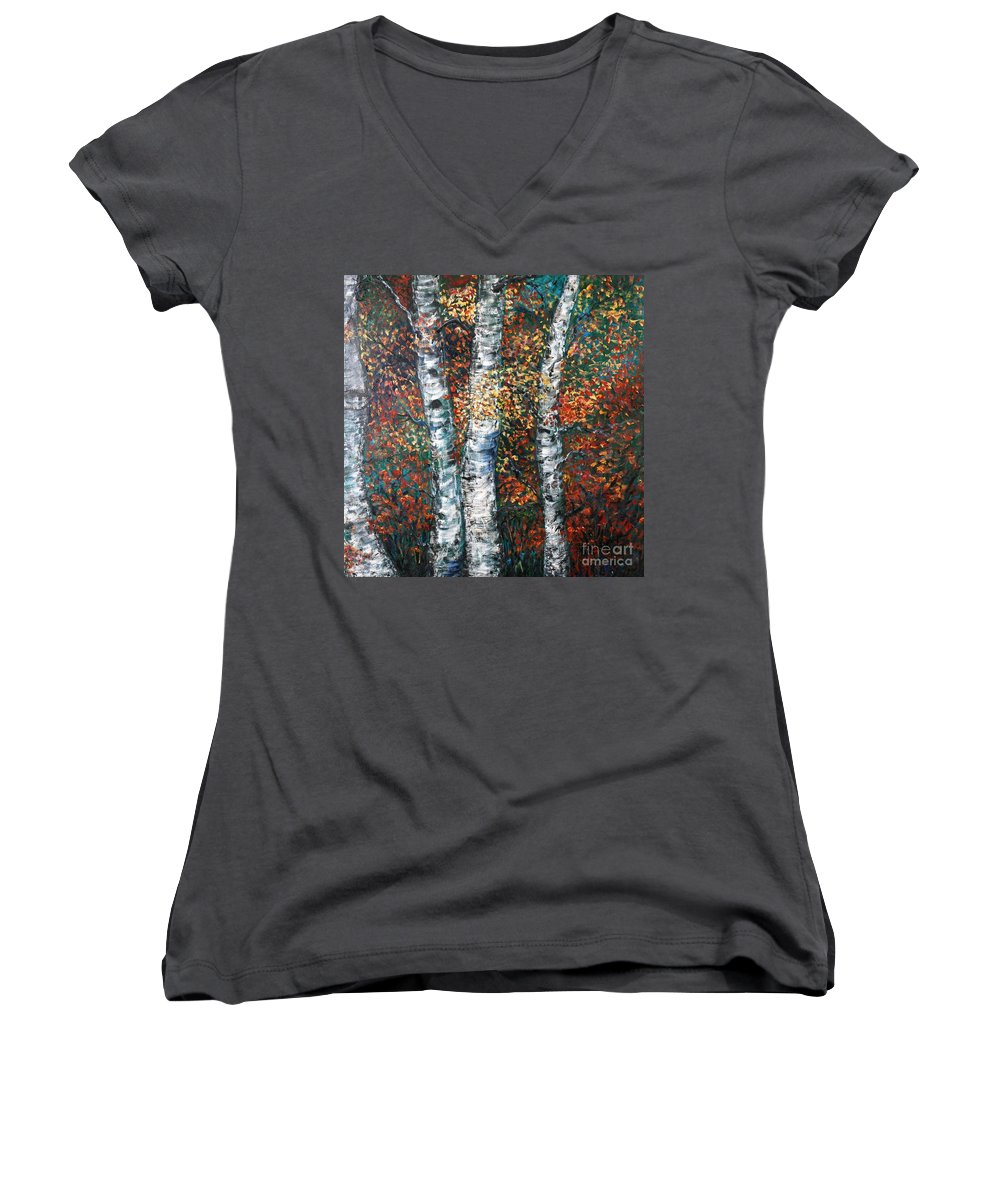 Birch Women's V-Neck T-Shirt featuring the painting Autumn Birch by Nadine Rippelmeyer