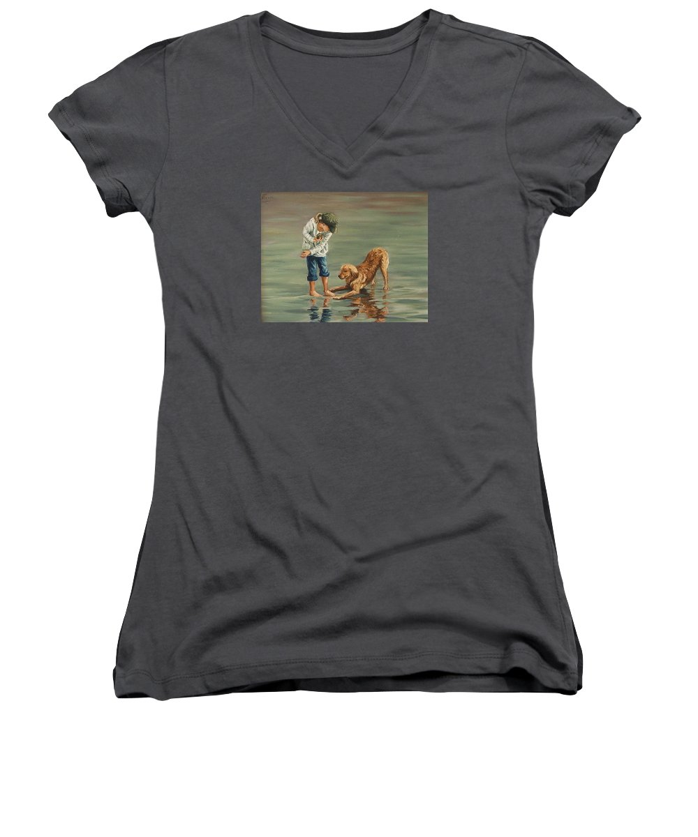 Girl Kid Child Figurative Dog Sea Reflection Playing Water Beach Women's V-Neck (Athletic Fit) featuring the painting Autumn Eve by Natalia Tejera