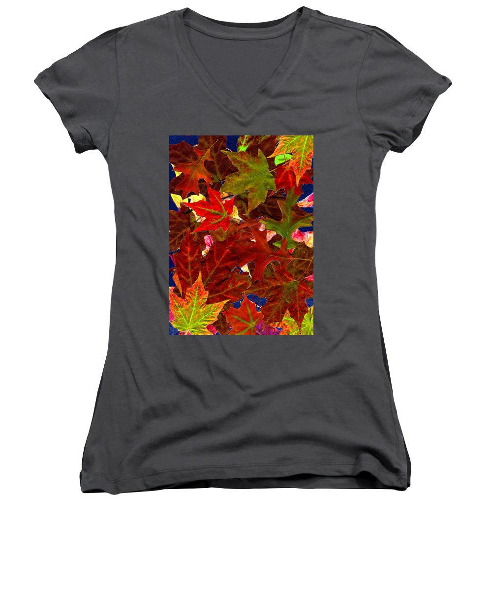 Collage Women's V-Neck T-Shirt featuring the photograph Autumn Leaves by Nancy Mueller