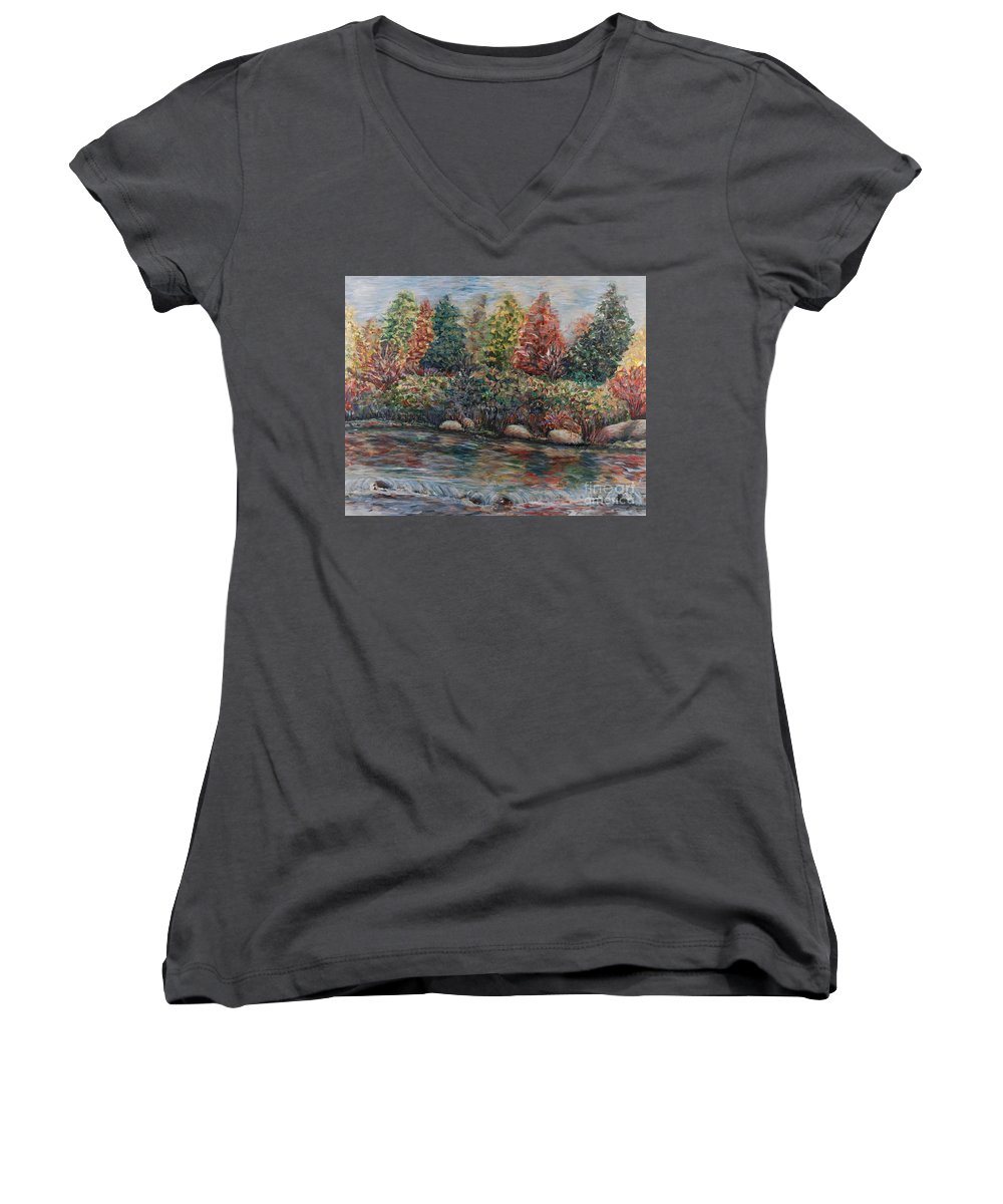 Autumn Women's V-Neck T-Shirt featuring the painting Autumn Stream by Nadine Rippelmeyer
